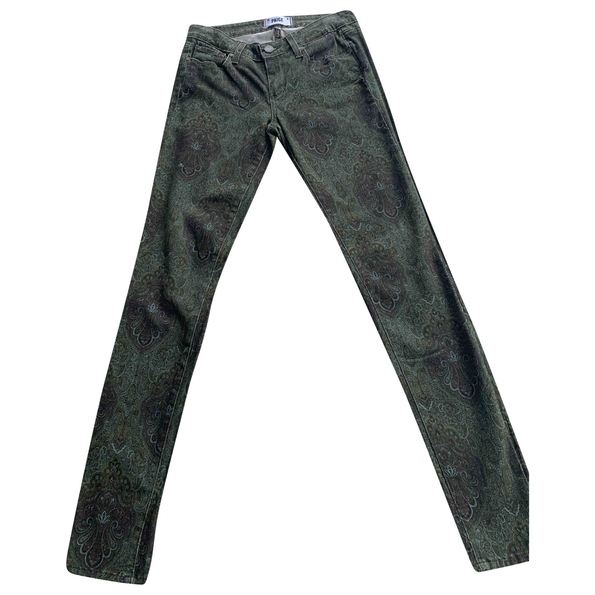Paige Jeans \N Green Cotton - elasthane Jeans for Women 34 FR