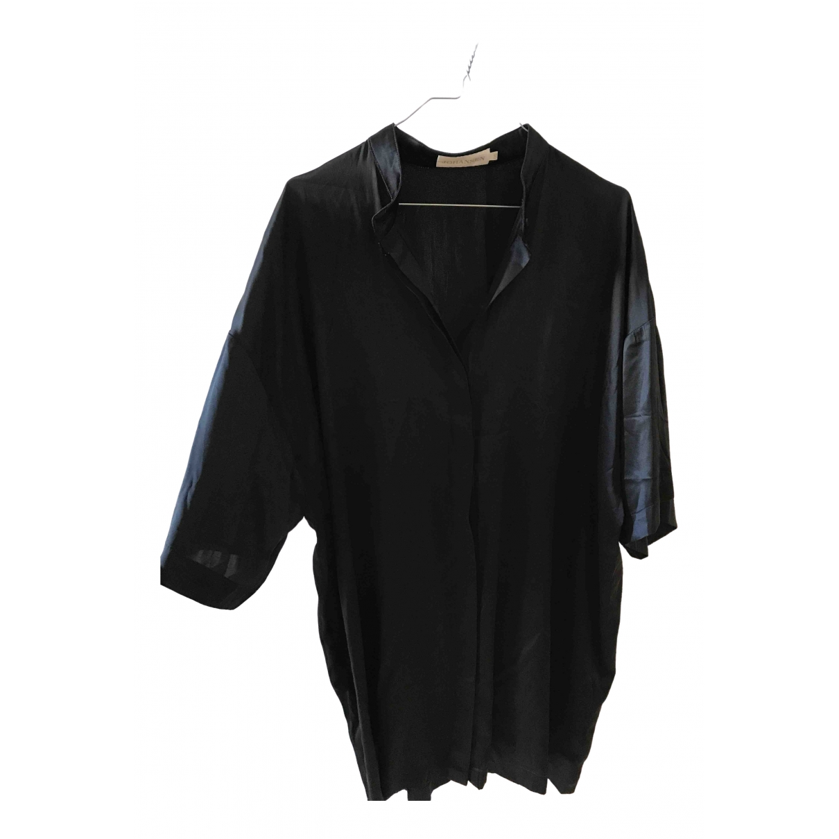 Non Signé / Unsigned Oversize Black Silk  top for Women S International