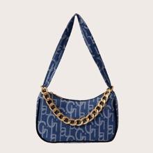 Letter Graphic Baguette Bag