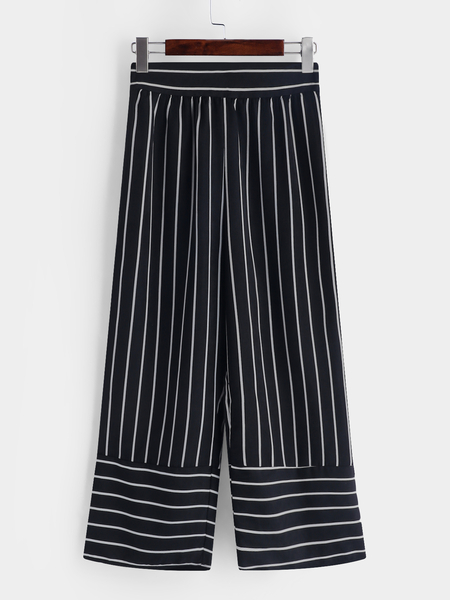 Yoins Black Stripe High Waisted Pants