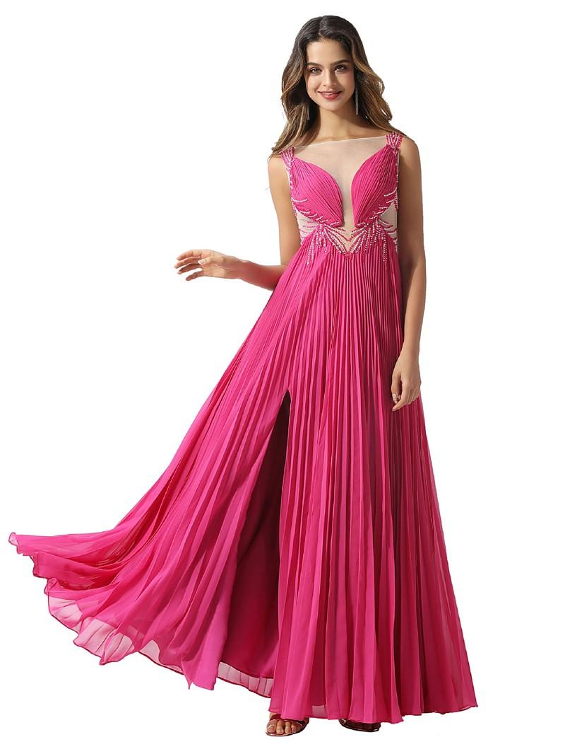 Ericdress Beading Sleeveless A-Line Bateau Prom Dress 2020
