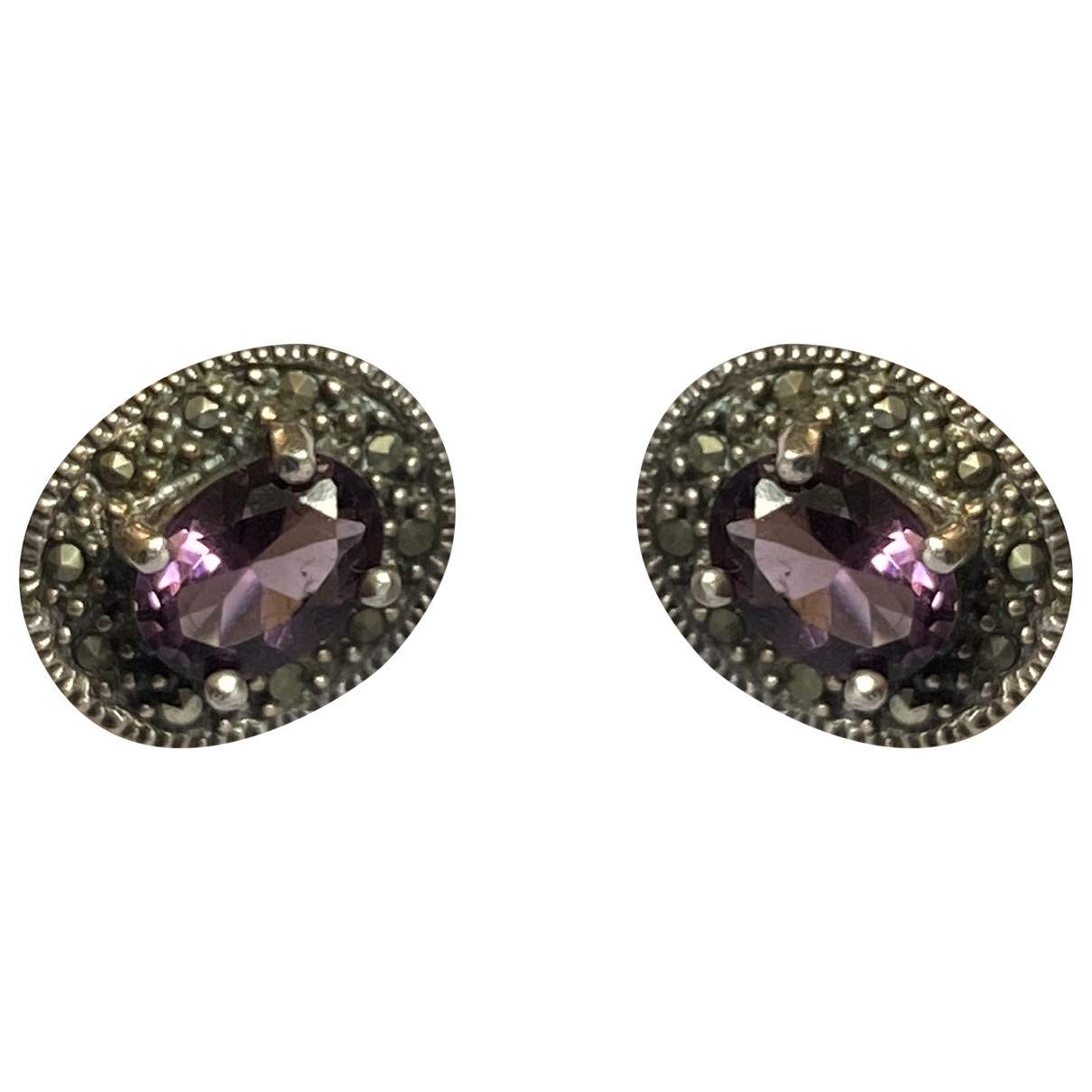 Non Signe / Unsigned Amethyste OhrRing in  Lila Silber