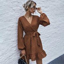 Polka Dot Surplice Front Ruffle Hem Belted Dress