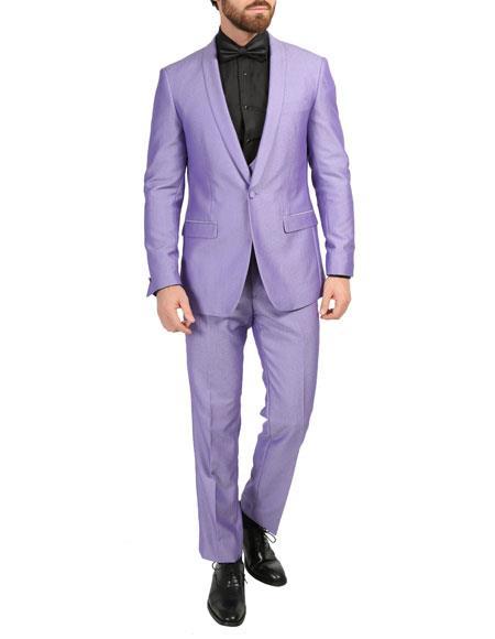 Shawl Collar Slim Fitted Mens Blazer Dinner Jacket Violet
