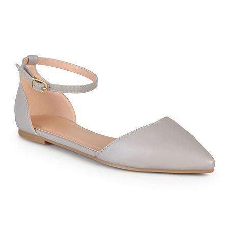 Journee Collection Womens Reba Ankle-Strap Ballet Flats, 6 Medium, Gray