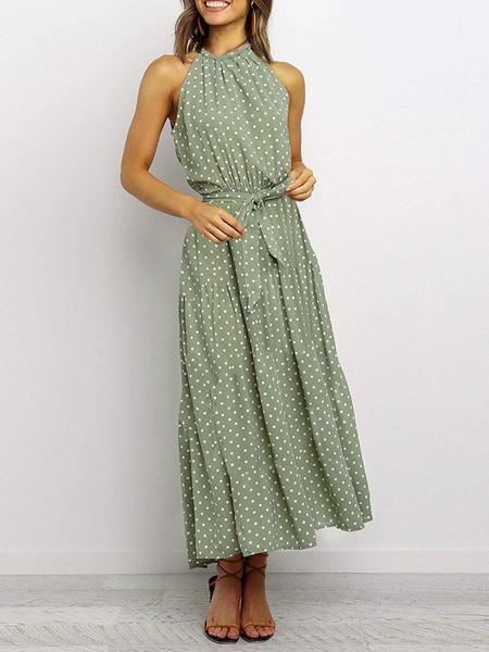 Milanoo Summer Maxi Dresses Sleeveless Polka Dot Chiffon Long Dress
