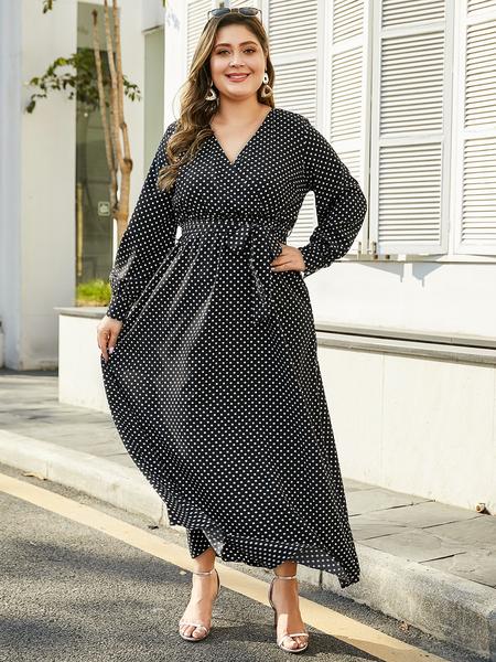 YOINS Plus Size Black Belt Design Polka Dot Dress