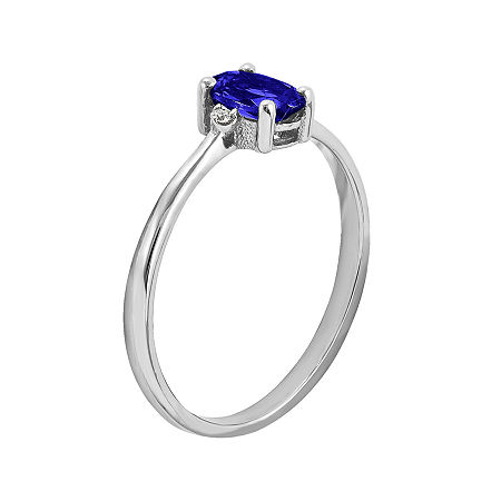 Oval Genuine Blue Sapphire and Diamond-Accent 14K White Gold Birthstone Ring, 8 , No Color Family