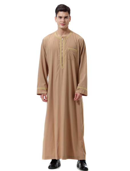 Milanoo Men Arabian Abaya Piping Pocket Round Neck Long Sleeve Ecru White Arabian Robe