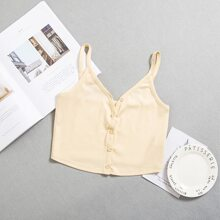 Button Front Solid Crop Cami Top