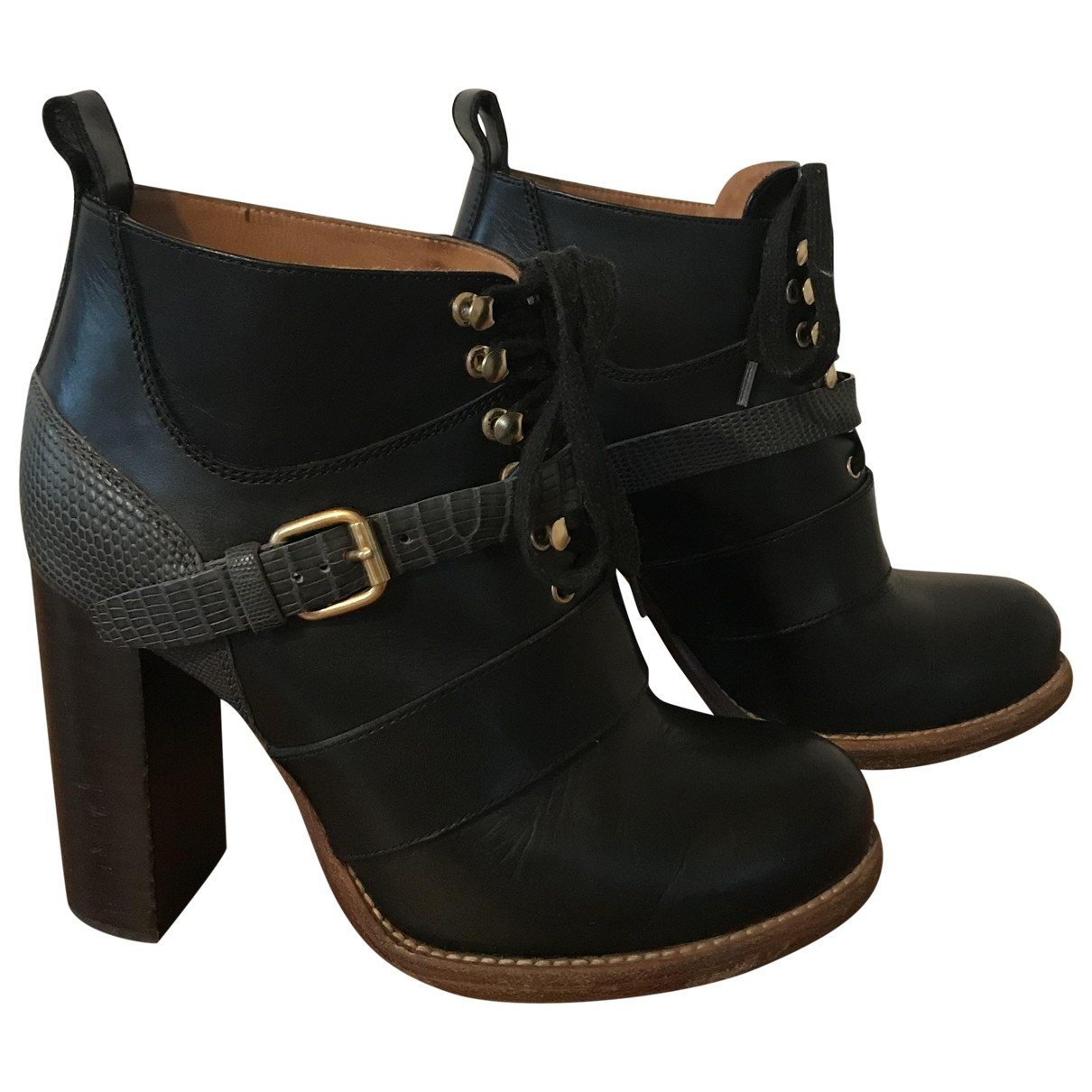 Chloé \N Black Leather Ankle boots for Women 36 EU
