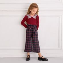 Toddler Girls Lace Panel Tee With Plaid Paperbag Pants