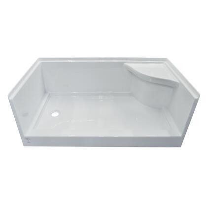 SBWSOD-6030-LD-WHT White Acrylic Right Molded Seat Shower Base