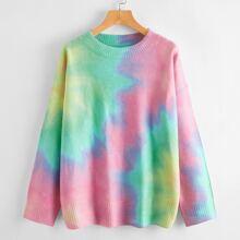 Drop Shoulder Tie Dye Oversize Sweater