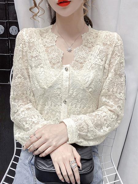 Milanoo Women Lace Blouse Apricot V-Neck Long Sleeve Casual Shirts