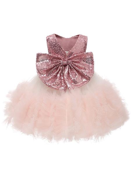 Milanoo Flower Girl Dresses Jewel Neck Lace Sleeveless Knee-Length Princess Silhouette Tiered Formal Kids Pageant Dresses