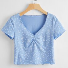 Plus Ditsy Floral Ruched Front Tee