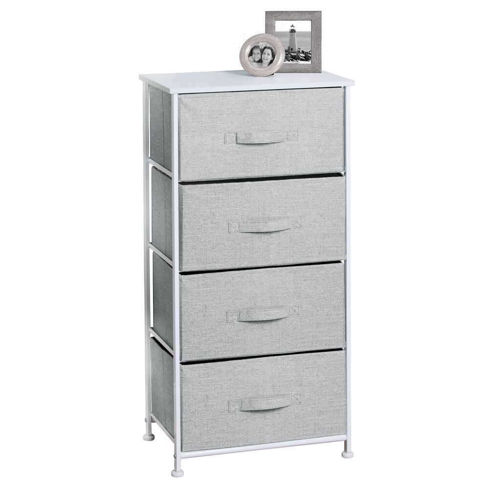 4 Drawer Tall Fabric Dresser for Storage in Gray, 12