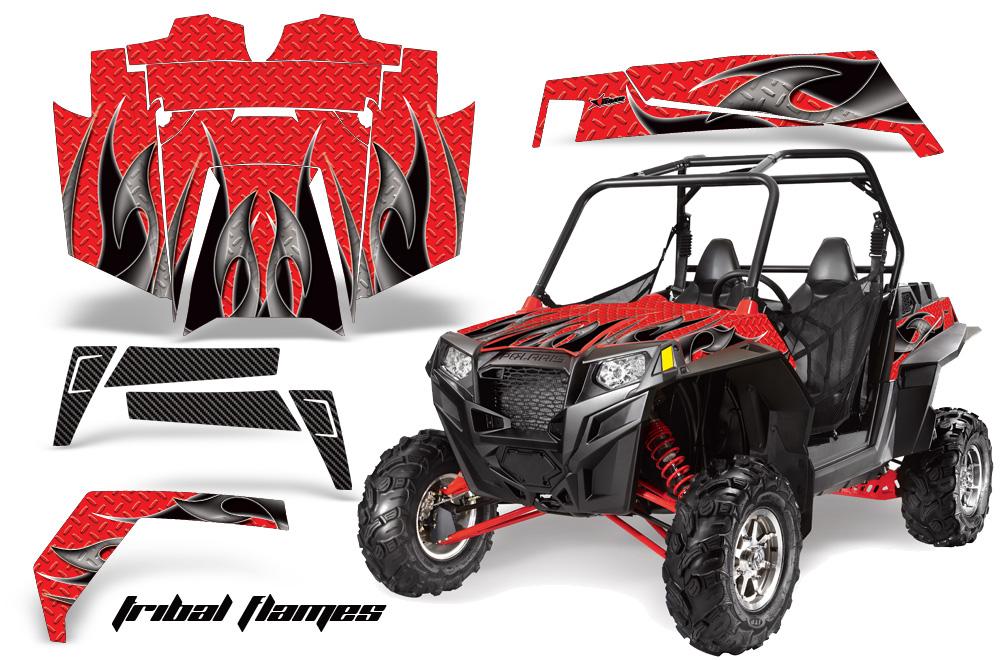AMR Racing  Full Custom UTV Graphics Decal Kit Wrap Tribal Flames Black/Red Polaris RZR XP 900 11-14