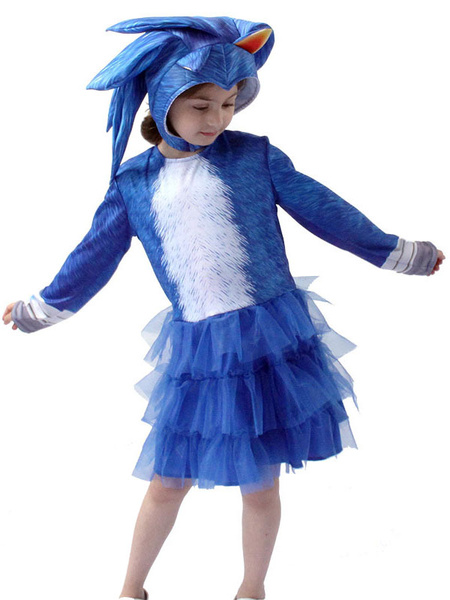 Milanoo Sonic The Hedgehog Girl Top con capucha con vestido Disfraz de Cosplay Halloween