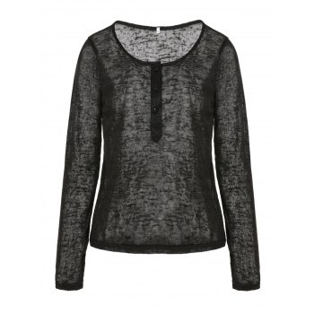 Pullover Long Sleeve Scoop Neck Solid Color Blouse For Women