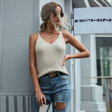 Solid Ribbed Knit Cami Top
