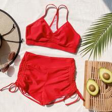 Bañador bikini shorts con cordon lateral fruncido
