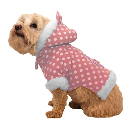The Pet Life Polka-Dot Couture-Bow Pet Hoodie Sweater, One Size , Pink