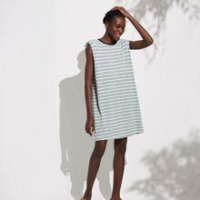 Baumwollmischung Tank Kleid mit Streifen und Schulterpolster