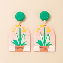 Potted Plants Pattern Geo Drop Earrings