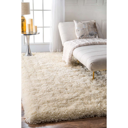 nuLoom Hand Tufted Kristan Shag Rug, One Size , White