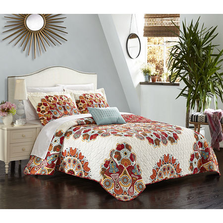 Chic Home Rouen 8pc Quilt Cover Set, One Size , Red