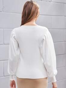 Solid Bishop Sleeve Sweater