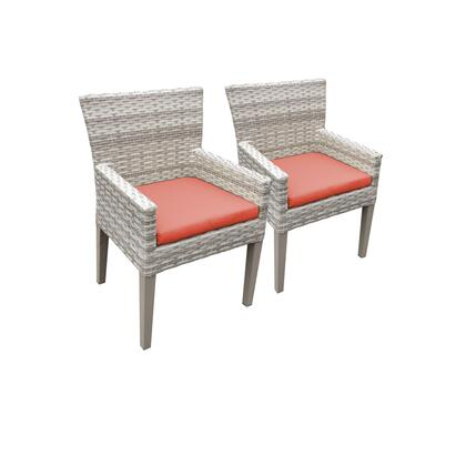 TKC245b-DC-C-TANGERINE 2 Fairmont Dining Chairs With Arms with 2 Covers: Beige and