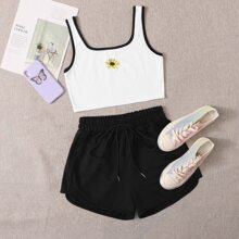 Plus Contrast Binding Floral Embroidery Tank Top & Shorts