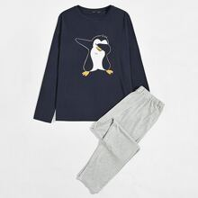 Schlafanzug Set mit Pinguin Muster