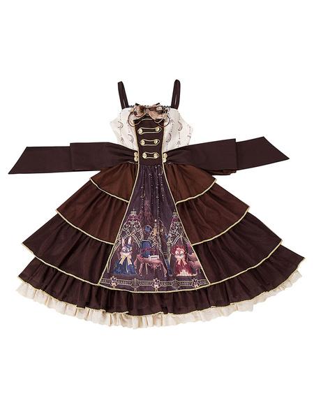 Milanoo Vestido clasico de Lolita JSK Arcos de quimico Faldas de jersey de Lolita de chocolate