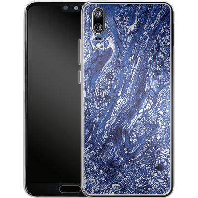 Huawei P20 Silikon Handyhuelle - Marbled Blue von Amy Sia