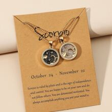 2pcs Couple Zodiac Sign Design Round Charm Necklace