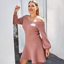 Plus Bardot Bishop Sleeve Flowy Sweater Dress