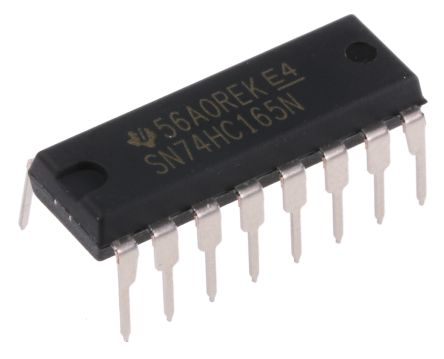 Texas Instruments SN74HC165NE4 8-stage Shift Register, Serial to Serial/Parallel, , Uni-Directional, 16-Pin PDIP (5)
