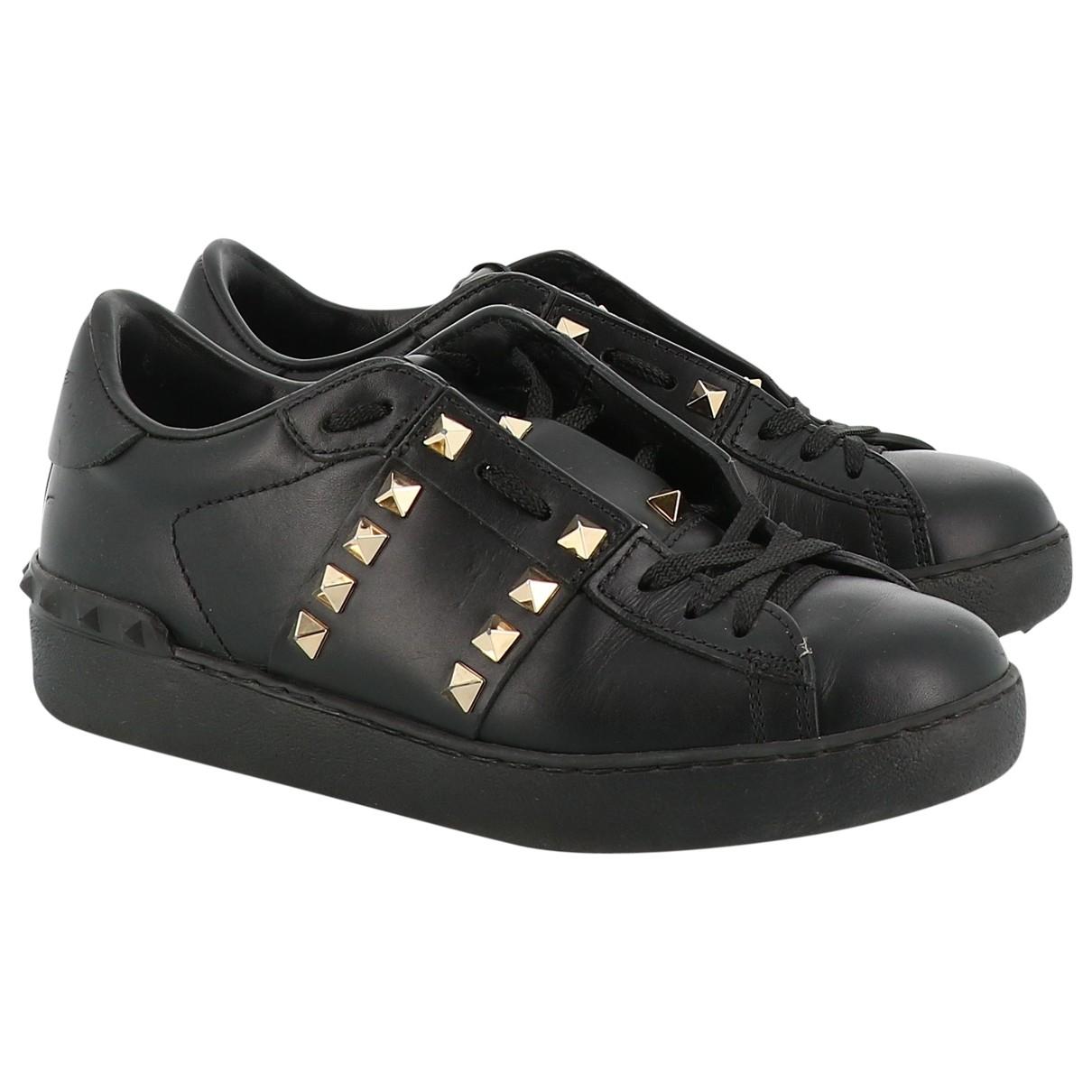 Valentino Garavani Rockstud Black Leather Trainers for Women 35.5 EU