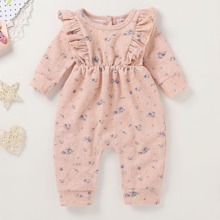 Baby Girl Ditsy Floral Ruffle Button Back Jumpsuit