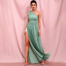 Prom Kleid mit einer Schulter, Schlitz und Pailletten