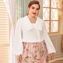 Plus Guipure Lace and Schiffy Frill Detail Lantern Sleeve Top