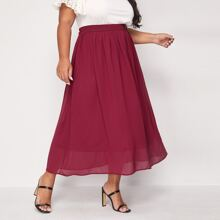 Plus Elastic Waist Flared Skirt