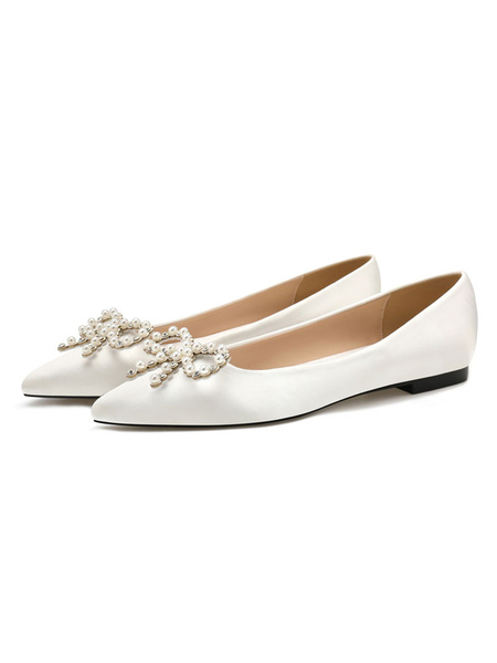 Milanoo Women\'s Ballet Flats White Satin Pointed Toe Pearls Flat Slip On Shoes