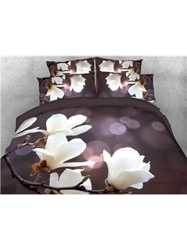 White Magnolia Flowers Duvet Cover 3D Printed 4-Piece Floral Bedding Sets