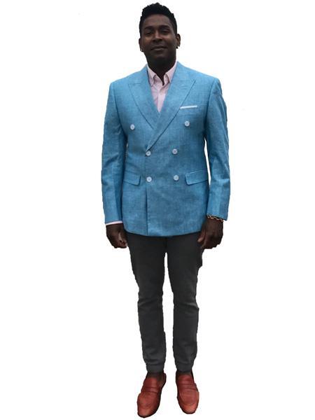 Mens Double Breasted Linen Summer Sport Coat Blazer in Light~Sky Blue