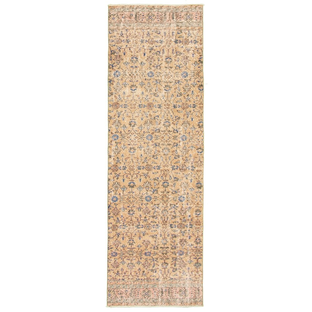 ECARPETGALLERY Hand-knotted Melis Vintage Tan Wool Rug - 2'11 x 10'1 (Tan - 2'11 x 10'1)
